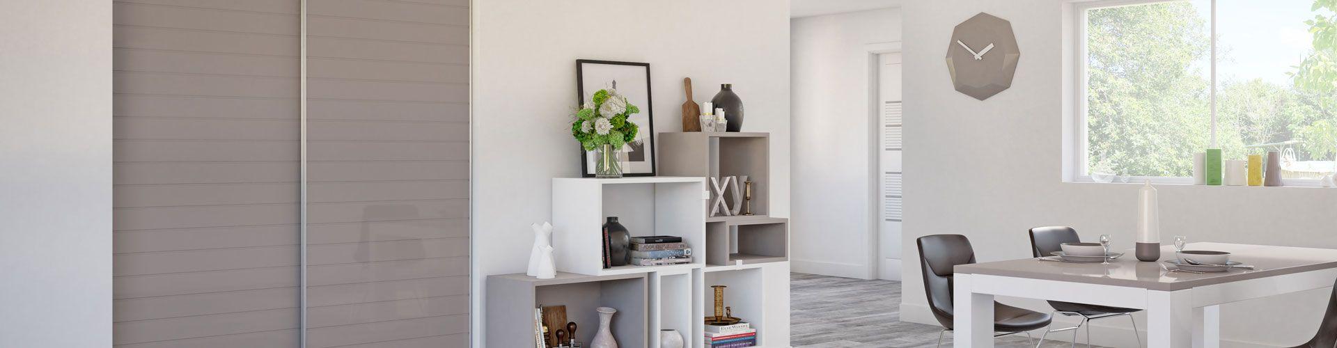 portes de placard verre laqu rainur naturel kazed. Black Bedroom Furniture Sets. Home Design Ideas