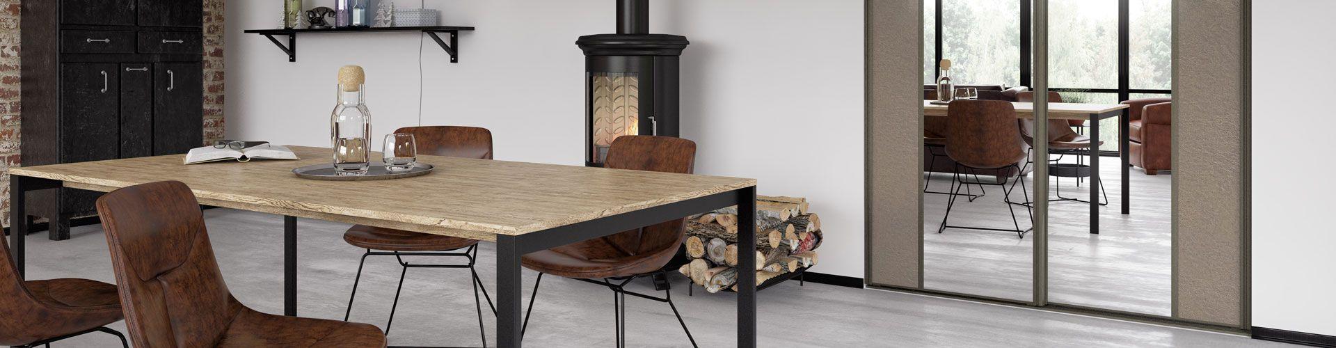 portes de placard pour d co vintage miroir et cuir kazed. Black Bedroom Furniture Sets. Home Design Ideas