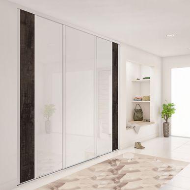 Façade de placard coulissante 3 portes verre laqué blanc pur, décor ...
