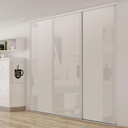 fa ade de placard coulissante 3 portes miroir argent verre laqu blanc pur kazed. Black Bedroom Furniture Sets. Home Design Ideas