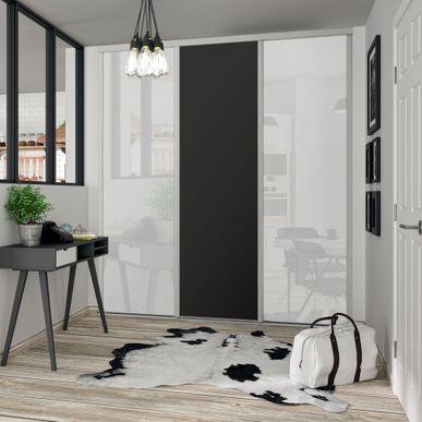 Facade De Placard Coulissante 3 Portes Verre Laque Blanc Pur Decor