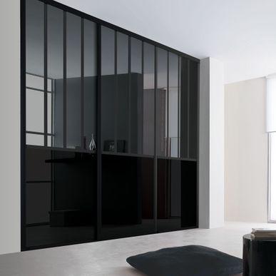 façade de placard coulissante 3 portes miroir plomb, verre laqué