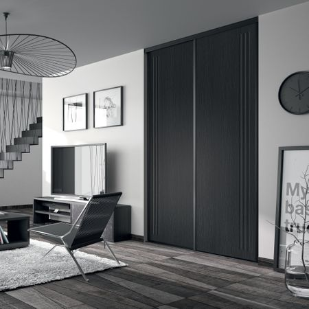 fa ade de placard coulissante 3 portes d cor noir glac. Black Bedroom Furniture Sets. Home Design Ideas