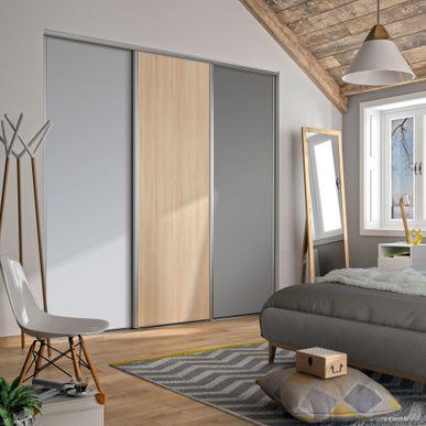 Façade de placard coulissante 3 portes décor gris galet, décor ...