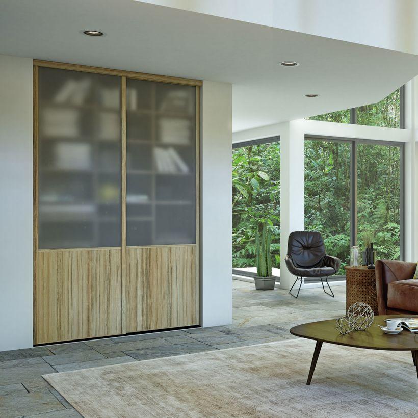 Façade de placard coulissante 2 portes vitre dépolie, décor panama
